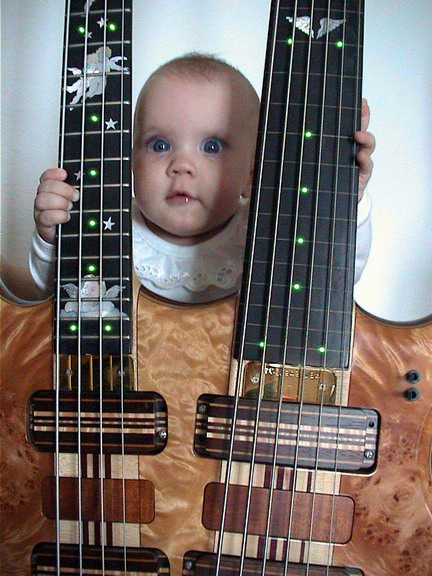 2001: 7 months old daughter Jerina laying hands on the bass