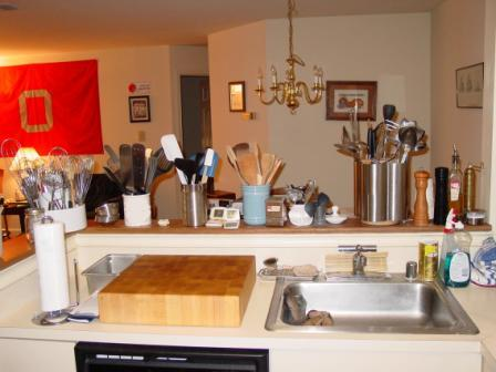 Utensils, whisks, thermometers, butcher block, etc.