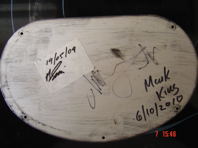 backplate signed by Mark King